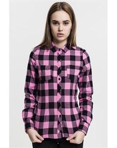 Рубашка Ladies Turnup Checked Flanell Shirt женская Black Rose L Urban classics