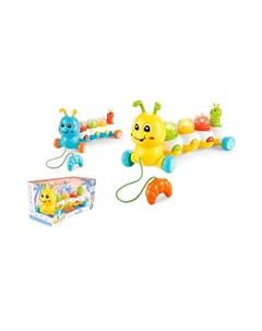Каталка игрушка на веревочке Гусеничка Игротрейд