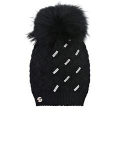 Черная шапка со стразами детская Joli bebe