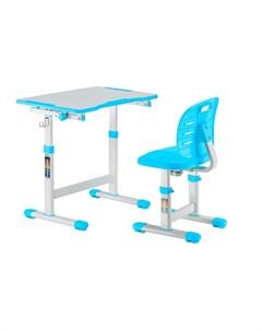 Детская парта и стул Omino Blue Цвет столешницы Голубой Цвет ножек стола Белый Fundesk