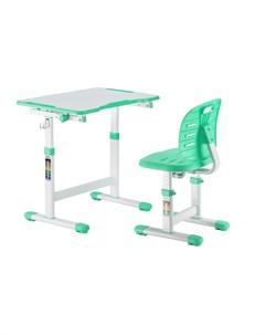 Детская парта и стул Omino Green Цвет столешницы Зеленый Цвет ножек стола Белый Fundesk