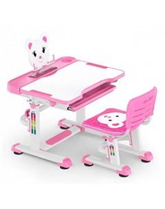 Комплект парта и стульчик BD 04 XL Teddy белый розовый Mealux