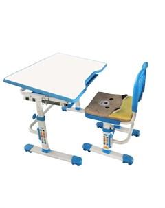 Комплект растущая парта и стул с чехлом SET 10 белый белый синий Rifforma