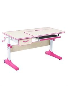 Растущая парта Imparare Цвет столешницы Клен Цвет ножек стола Белый Цвет кромки Розовый Cubby