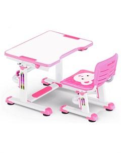 Комплект парта и стульчик BD 09 Teddy белый розовый Mealux