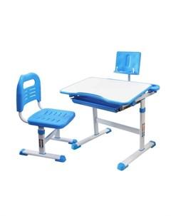 Комплект парта с подставкой для книг и стул голубой белый Rifforma