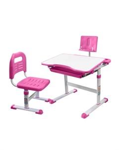 Комплект парта с подставкой для книг и стул розовый белый Rifforma