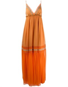 Ярусное платье макси в стиле колор блок Alberta ferretti