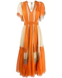 Платье в стиле колор блок с вышивкой Alberta ferretti