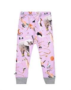 Сиреневые спортивные брюки с принтом детские Molo