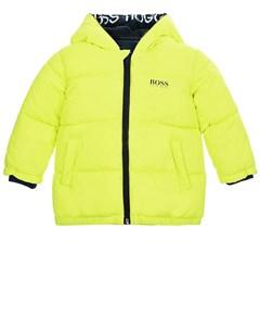 Неоновая куртка с логотипом на капюшоне детская Hugo boss