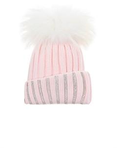 Розовая шапка со стразами и меховым помпоном детская Joli bebe