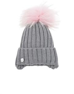 Серая шапка с розовым помпоном из меха детская Joli bebe