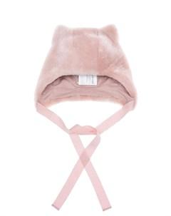 Розовая шапка из овчины с ушками детская Ploomlé
