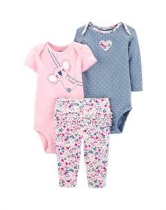 Комплект для девочки полукомбинезон боди брюки 1I727910 Carter`s
