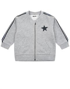 Серая спортивная куртка с лампасами детская Molo