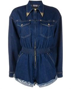 джинсовый комбинезон с декорированным воротником Versace jeans couture