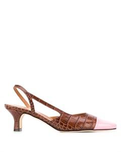 туфли с тиснением под кожу крокодила и ремешком на пятке Paris texas