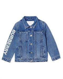 джинсовая куртка с логотипом Burberry kids