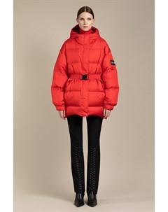 Куртка женская с центральной бортовой застежкой на замок молнию с капюшоном и отлетным поясом Vassa&co