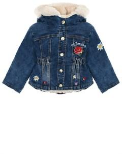 Джинсовая куртка с розовой меховой подкладкой детская Monnalisa
