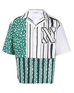 рубашка с принтом и вставками Neil barrett