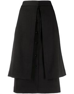 Многослойная юбка прямого кроя Lemaire