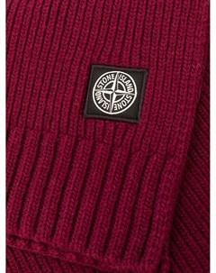 Вязаный шарф с нашивкой логотипом Stone island junior