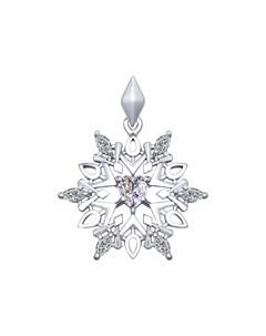 Кулон Снежинка из серебра Sokolov