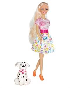 Кукла Ася Прогулка со щенком 2 28см Toyslab