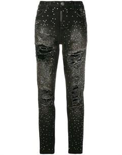 джинсы скинни с эффектом потертости Philipp plein