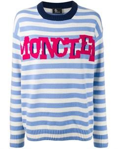 Полосатый свитер с логотипом Moncler grenoble