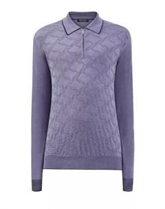 Джемпер поло из шелка и шерсти с вязаным принтом Bertolo cashmere